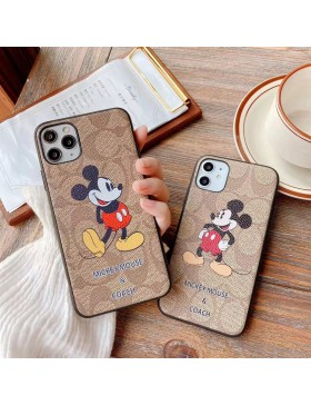 Coach X Mickey iPhone 7 8 Plus XR 11 12 Pro Max  Case Brand Shell Cover